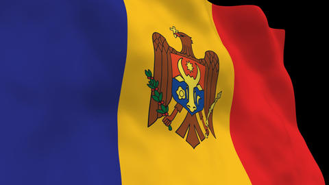 Flag B134 MDA Moldova Stock Video Footage