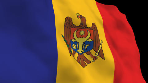 Flag B134 MDA Moldova Stock Video Footage