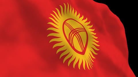 Flag B138 KGZ Kyrgyzst Stock Video Footage