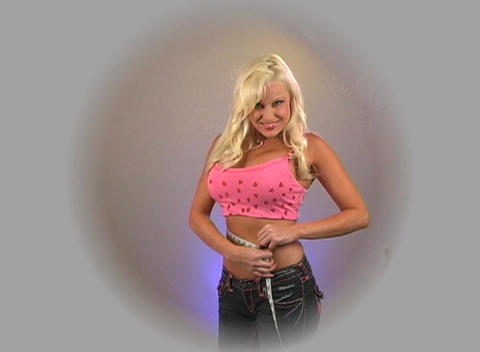 Beautiful Blonde Measures Her Waist (1) Stock Video Footage