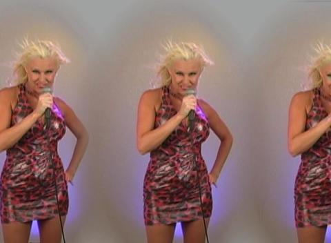 Beautiful Blonde Singing - In Triplicate! Stock Video Footage