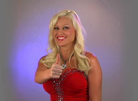 Beautiful Blonde Gives Thumb Up Stock Video Footage