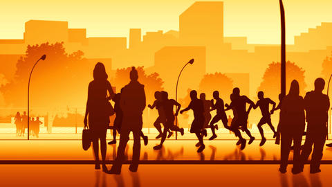 City runners - loopable Stock Video Footage
