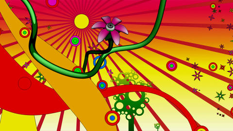 psychedelic flowerland 2 Stock Video Footage