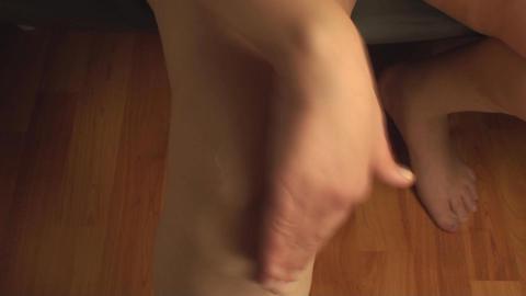 Woman Massaging Knee, Knee Injury, Pain, Treatment Live Action