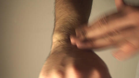 Man Massaging Wrist, Wrist Injury, Pain, Treatment stock footage