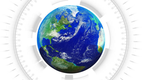 Clean Spinning Earth On White With Alpha - Loop stock footage