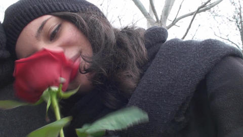 Valentine's Day Young Woman Rests On Young Male Sh Footage