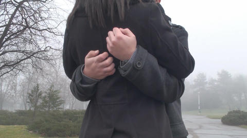 Valentine's Day Young Couple Hugging And Kissing E Footage