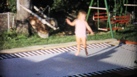 Little Girl On In Ground Trampoline 1967 Vintage Footage
