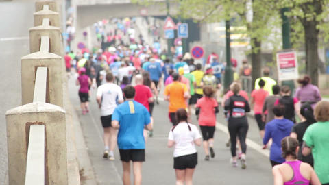 People Running At Half Marathon Event stock footage