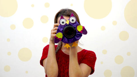 Woman Child Photographer Owl Puppet Footage