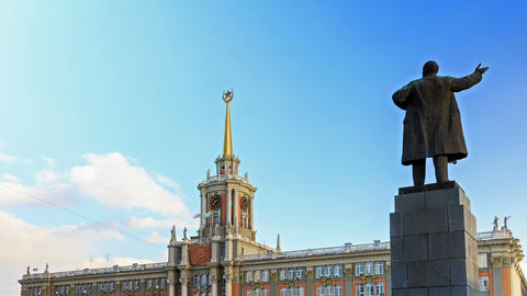 Yekaterinburg, The City Hall. Russia. Time Lapse.  stock footage