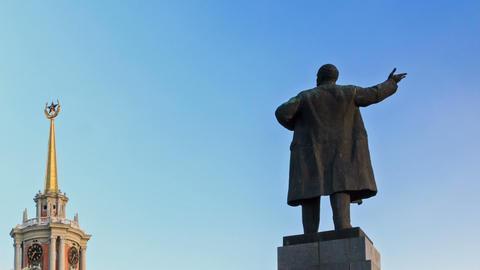Monument to Vladimir Lenin. Ekaterinburg. Russia.  Footage