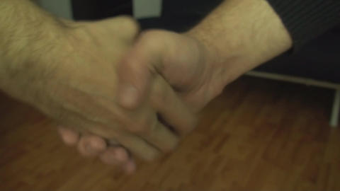 Two Adult Men Have A Bet And A Adult Woman Cuts It Stock Video Footage