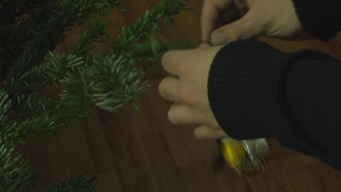 Chrismas Tree Detail With A Globe On It stock footage