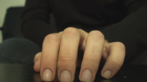 Hand Detail While Waiting For Someone Front Shot Footage