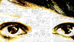 Eye Macro Woman Tech Scheme stock footage