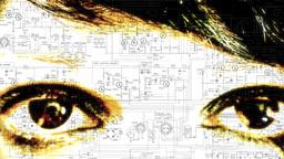 Eye macro woman tech scheme Footage