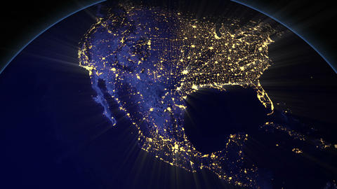 Night Earth USA stock footage
