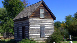 Historic Beard Log Cabin Museum Exhibit stock footage