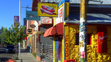 Hot Dog Stand Colorful Businesses On Flagstaff AZ stock footage