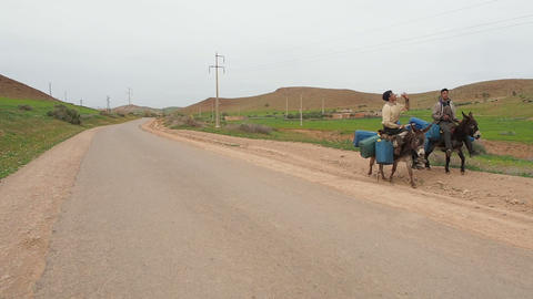 Moroccan Donkeys Carry Gas Cans 2 - FT0039 stock footage
