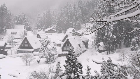 Winter Landscape Of The Village,in Toyama,Japan stock footage