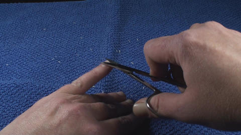 Detail Of Two Hands Nail Clipping Point Of View-Sh Footage