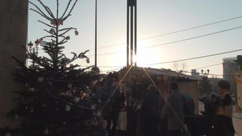 Sun Flare Still Shot Of People Walking By Footage