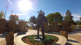 Native American Statue Near OKC Riverwalk stock footage