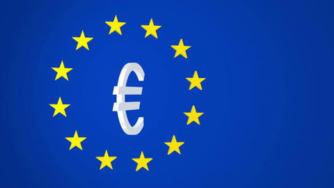 European Union Euro Symbol And Stars stock footage