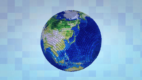 Voxelize Earth stock footage