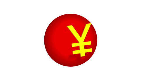 Japanese Yen Red Ball Flag CG動画