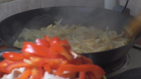 Chicken Stroganoff Bell Pepper And Mushrooms Ready stock footage