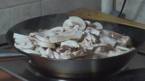 Chicken Stroganoff Adding Mushrooms Into The Fryin Footage