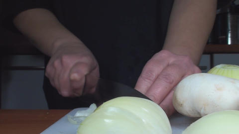 Chicken Stroganoff Slicing The Onion Front-Shot stock footage