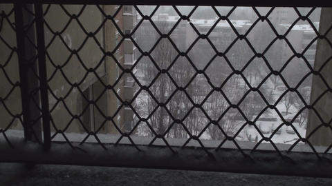 Extreme Blizzard Shot Behind A Fence, Disaster, Ca Footage