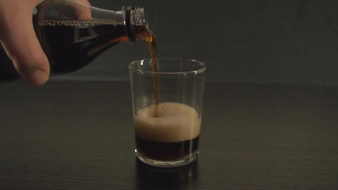 Pouring Soda Into A Glass Medium-Shot Footage