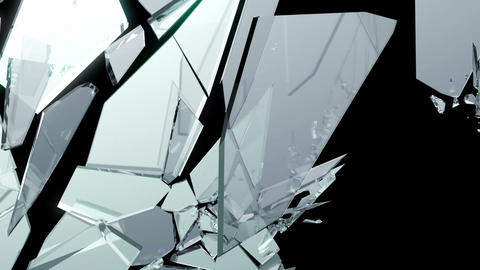 Broken And Shattered Glass With Slow Motion. Alpha stock footage