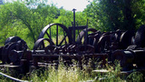 Old West Gold Rush Era Rusting Mining Equipment stock footage