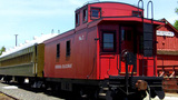 Old Train Cabose Passenger Car And Depot stock footage