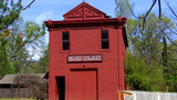 Old West Gold Rush Era Frontier Town Firehouse stock footage