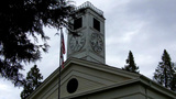 Old West Mariposa County Courthouse Clock Tower stock footage