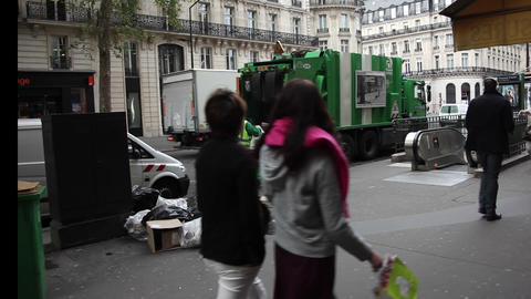 Workers collecting garbage Footage