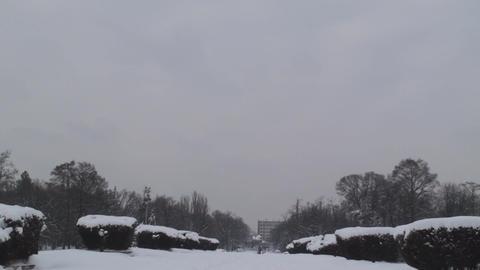 Park Entrance Covered With Snow Tilt-Shot Footage