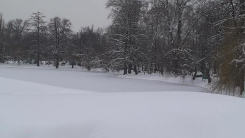 Frozen Lake In A Park Pan-Shot 3 Footage