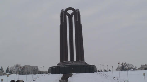 Monument Of Unknown Hero In Bucharest Pan-Shot Live Action
