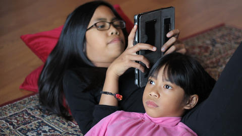 Sisters Spending Time Together In Living Room Footage