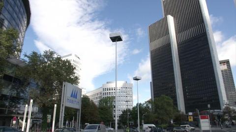 Skyscraper in Frankfurt, with flags during IAA Footage